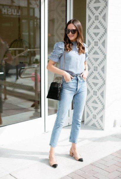 jeans de tacón bajo