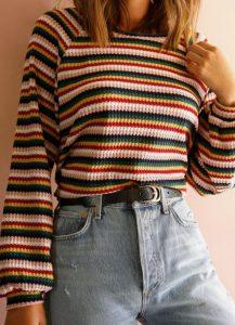 blusa a rayas con pantalones altos