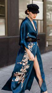 vestido kimono azul