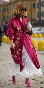 combinación de falda con kimono
