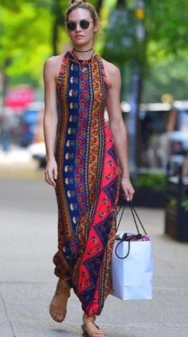 vestido largo boho vestido de primavera
