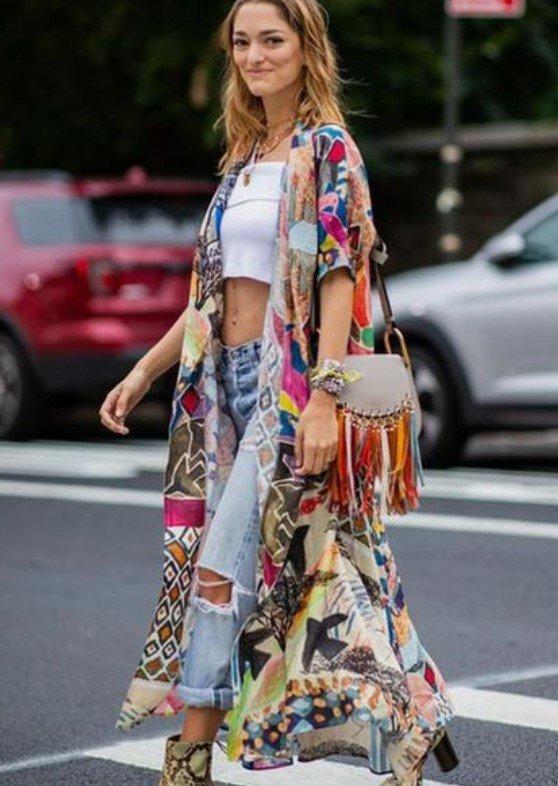 kimono bohemio vestido de primavera boho
