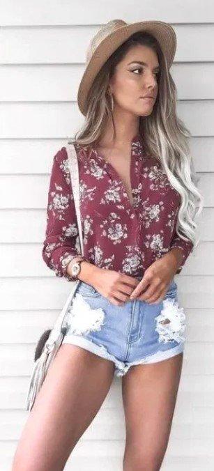 estilo de camisas florales boho