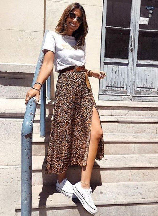 vestido con falda midi