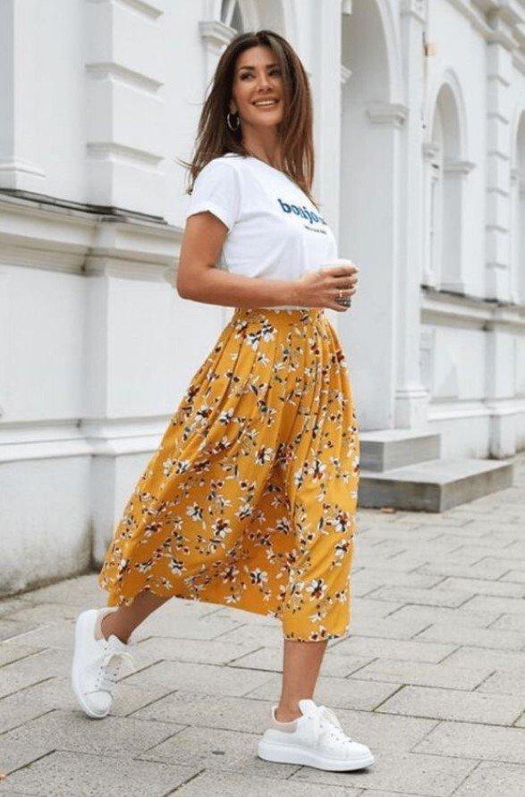 conjunto de primavera con falda