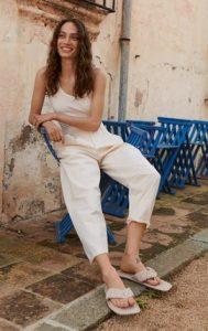pantalones de mango blanco