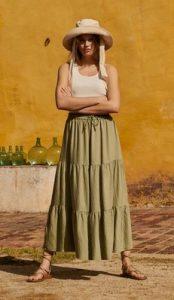 falda de mango con volantes