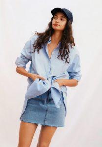 camisa mujer mango azul