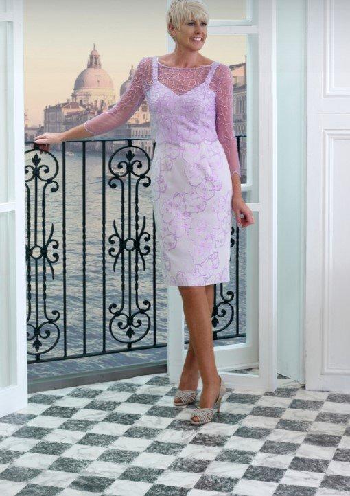 vestido midi blanco lila