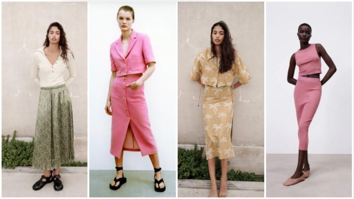 faldas midi ropa de verano de color claro Zara 2021