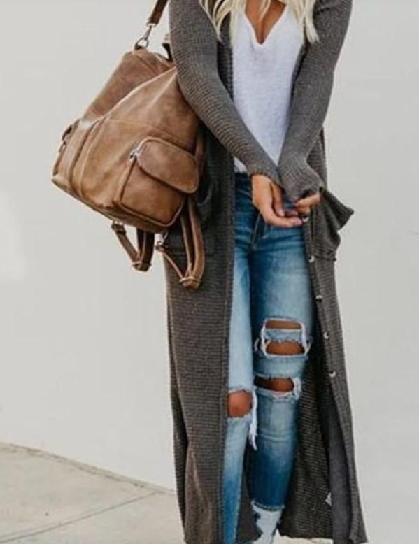 cárdigan largo jeans ropa armario primavera