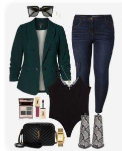 jeans ajustados con chaqueta y botas