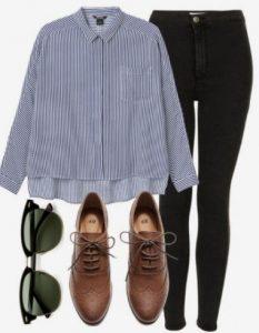 jeans ajustados con camisa y oxfords