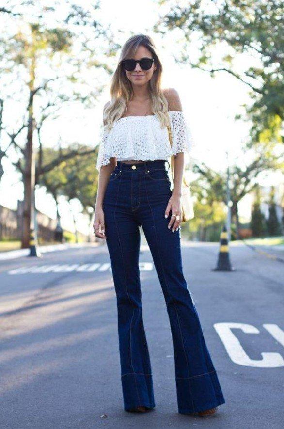 traje de mujer con jeans campana