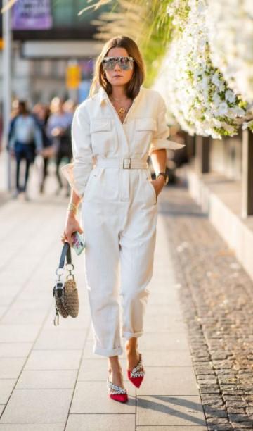 traje blanco casual de una pieza traje blanco de invierno