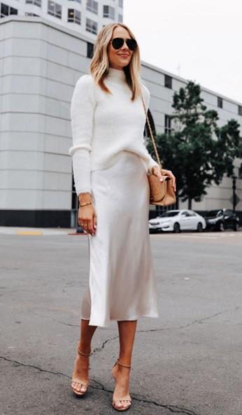 falda de satén blanco suéter blanco traje blanco de invierno