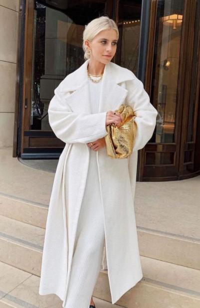 vestido blanco abrigo blanco invierno traje blanco