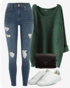 jeans ajustados con suéteres y zapatillas
