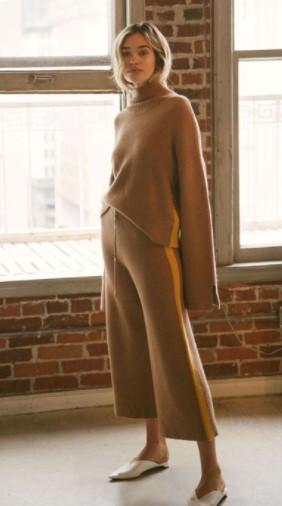 conjunto de pantalones de moda de invierno beige de punto