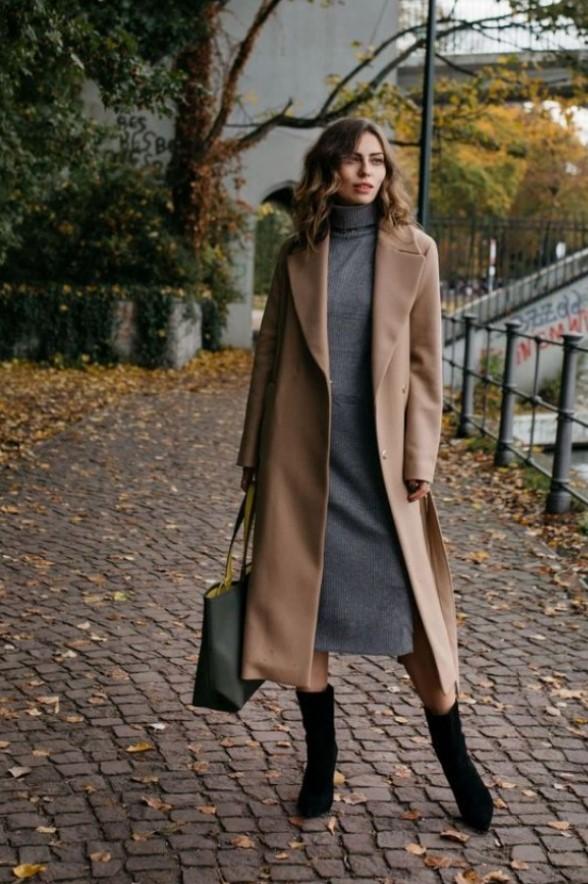 vestido con un abrigo