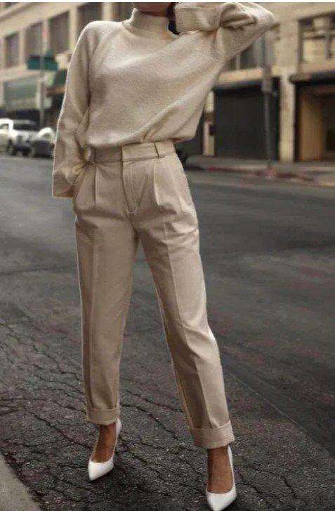 pantalones de oficina de cintura alta