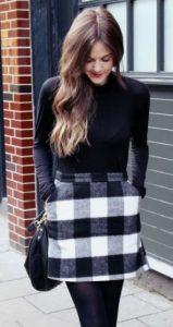falda de lana a cuadros