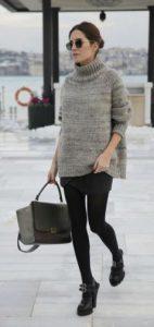 falda con suéter en niveles