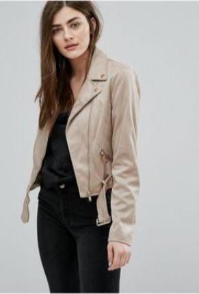 chaqueta de cuero beige