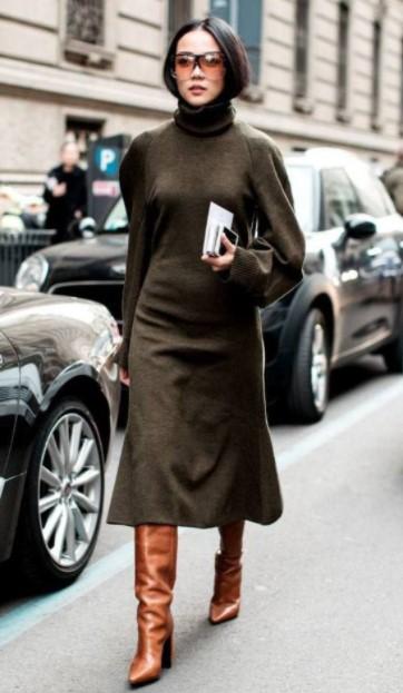 vestido caqui botas marrones combinaciones de colores ropa cara