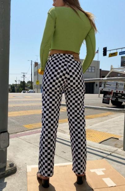 pantalones de tablero de ajedrez suéter verde pantalones de moda de invierno
