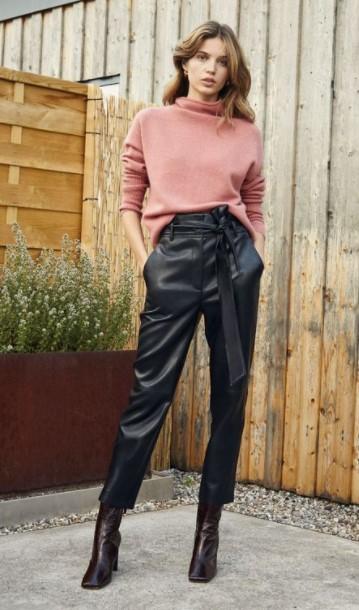 pantalones de cuero paperbag