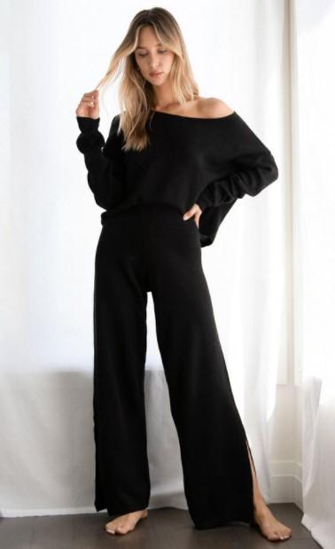 blusa pantalón de punto negro