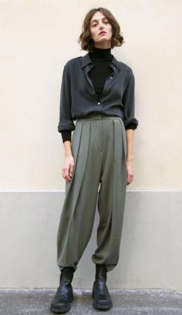 pantalones holgados de color caqui camisa pantalones de moda de invierno