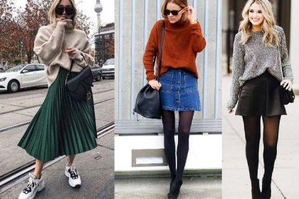 ¡10 hermosos atuendos con falda para el invierno!