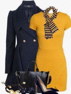 combinación de ropa con azul marino azul mostaza