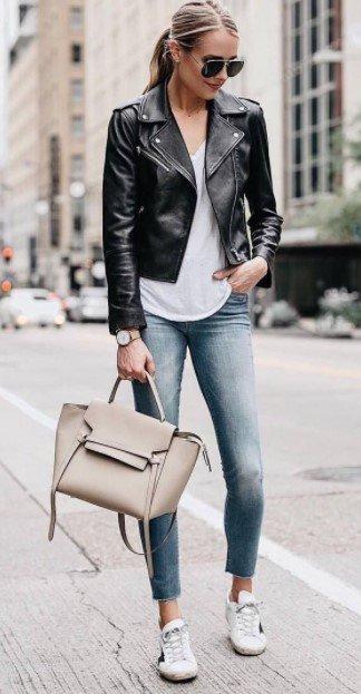 chaqueta de cuero clásica jeans chaqueta de cuero