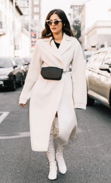 Abrigo frío en blanco y negro para el uso diario.