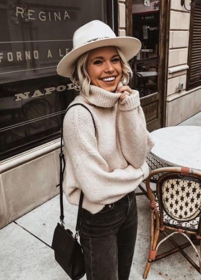 Sombrero de suéter frío atuendo blanco diario