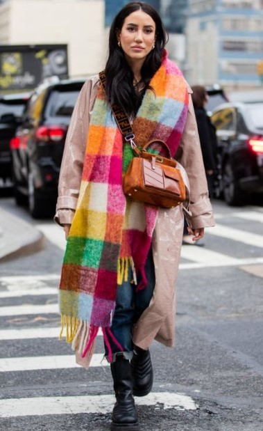 abrigo de bufanda de colores