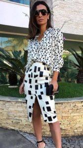 elegante vestido blanco y negro
