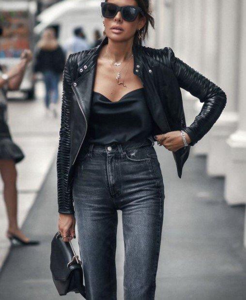 chaqueta de cuero jeans