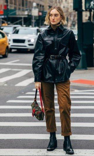 cinturón de chaqueta de cuero