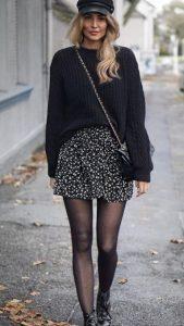 traje de invierno con falda y suéter