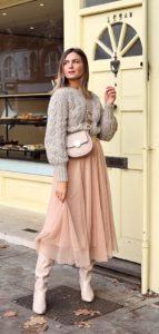 vestido de invierno con falda