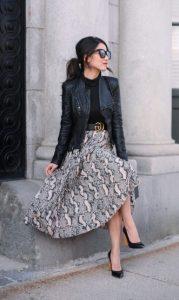vestido con una falda larga