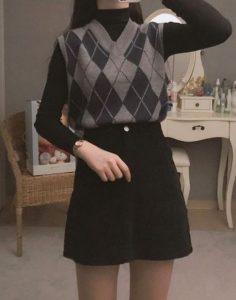 combinación de chaleco de falda