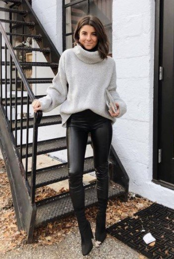 suéter de leggings de cuero gris