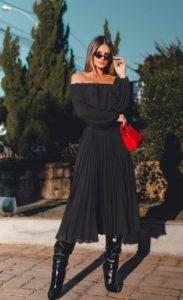 falda negra plisada falda negra