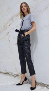 pantalones de cuero de talle alto