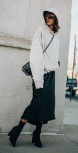 traje de invierno con falda